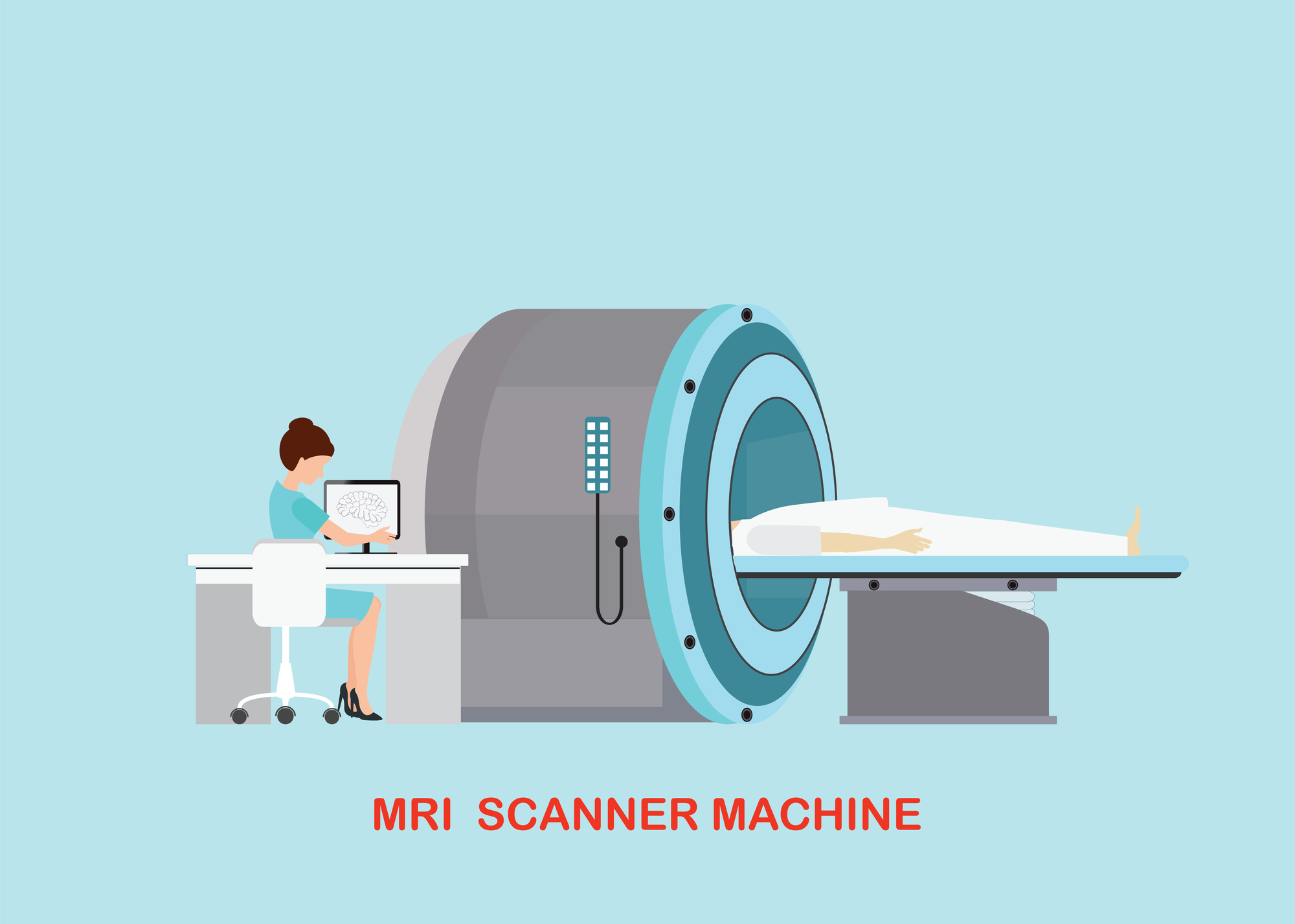Doctor scanning mri patient with MRI scanner machine technology
